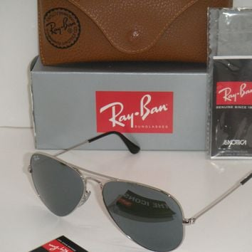 Cheap Ray Ban Aviator SUNGLASSES RB 3025 W3227 silver Frame SILVER MIRROR FLASH LENS outlet