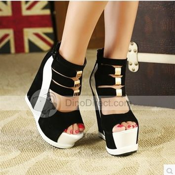 Benana Ladies Sexy Platform High Wedge Heel Sandals Women Summer Shoes Pumps With Back Zip Wholesale YLDB312-8NF - DinoDirect.com