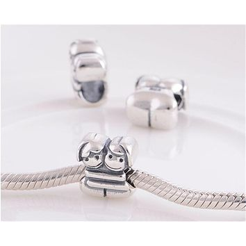Pure 925 Sterling Silver Jewelry Best Sister Bead Fit Pandora Charms Bracelet/Necklace DIY Fine Jewelry  FJ315