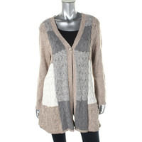 Style & Co. Womens Cable Knit Patchwork Cardigan Sweater