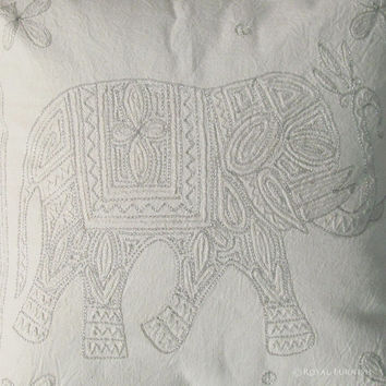 """16x16"""" White Color Indian Elephant Animal Cotton Embroidered Cushion Pillow Throw Cover Ethic Decorative Home Art"""