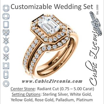 CZ Wedding Set, featuring The Sally engagement ring (Customizable Halo-Radiant Cut Design with Round Side Knuckle and Pavé Band Accents)