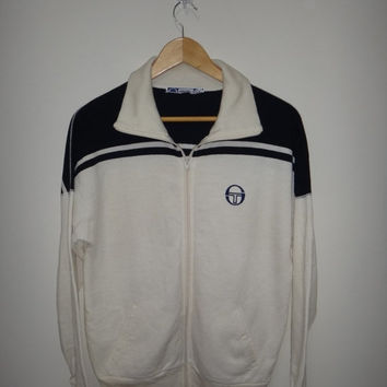 New Year Sale Vintage SERGIO TACCHINI Sweater Jacket Mods Hooligan Tennis 1980s Casual