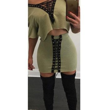 Casual Green Hollow-out Deep V-neck Lace-up Off-shoulder Crop Top And Drawstring Skirt