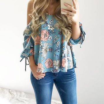 Women Floral Spaghetti Strap Cold Shoulder Blouse V Neck 2018 Tops Loose Fashion Casual Shirt Summer Cute All Match Top Tee