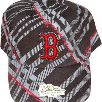 "MLB 47 Twins Brand Boston Red Sox ""Cross Stripes Series"" Baseball Cap Fitted Hat Size Medium"