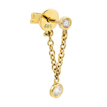 Diamond Bezel Chain Stud Earring 14K