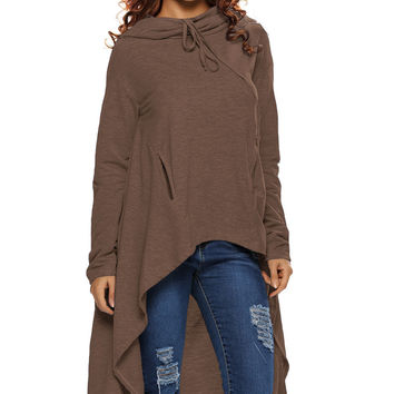 Brown Plain Drawstring Irregular Oversize Hoodie