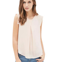 Light Pink Sleeveless Pleated Top