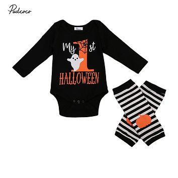 Halloween Baby Cotton Romper Newborn Boys Girls Pumpkin Romper Leg Warmers 2PCS Fall Costume Outfits Body Suit For Newborns