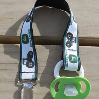 Pacifier Holder, John Deere Pacifier Clip, Tractor Pacifier Holder, John Deere Binky Clip, Little Boys  Pacifier Clip or Toy Clip