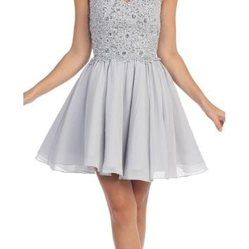 Chiffon A Line Short Homecoming Dress Silver Strapless