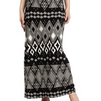 AGB Women's Knit Print Maxi Skirt With Wide Waistband