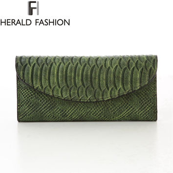 Python Pattern Wallets Women Bag 3 Fold Long Purse High Quality PU Leather Clutches Herald Fashion Carteras Mujer Card Holder