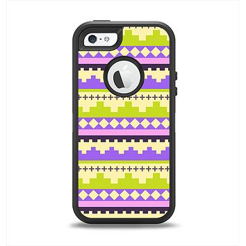 The Purple & Green Tribal Ethic Geometric Pattern Apple iPhone 5-5s Otterbox Defender Case Skin Set