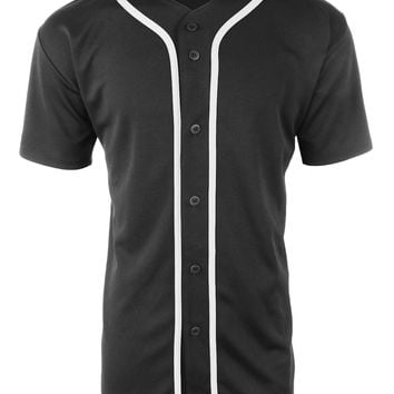LE3NO Mens Active Short Sleeve Button Up Baseball Jersey Shirt