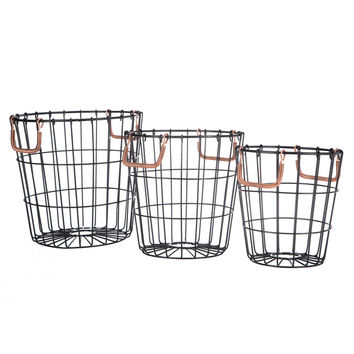 Metal Basket Set with Copper Handles | Hobby Lobby