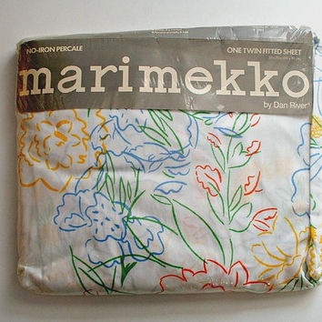Vintage Marimekko Twin Fitted Sheet in Package Floral New Old Stock by Dan River NIP Kukka Kimpuu