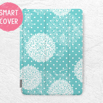 Tiffany Blue floral pattern Smart Cover for iPad Mini, iPad mini 2 retina, iPad Air, iPad Air 2, elegant Smart cover with back case -P13