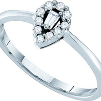 Ladies Diamond Fashion Ring in 14k White Gold 0.14 ctw