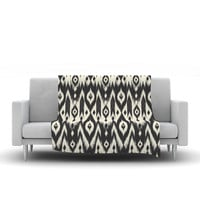 "Amanda Lane ""Black Cream Tribal Ikat"" Tan Dark Fleece Throw Blanket"
