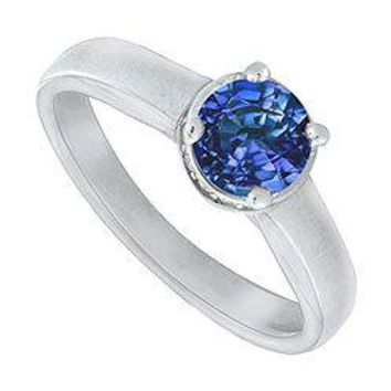 Blue Sapphire and Diamond Engagement Ring : 14K white Gold - 1.15 CT TGW