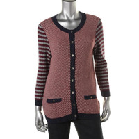 Tommy Hilfiger Womens Knit Contrast Trim Cardigan Sweater
