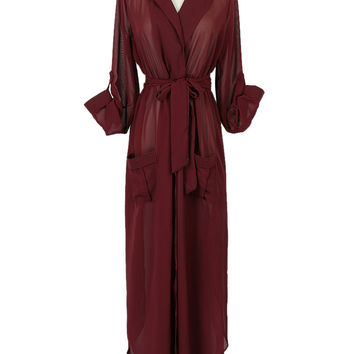 Burgundy Lapel Roll Up Sleeve Tie-Waist Chiffon Maxi Dress