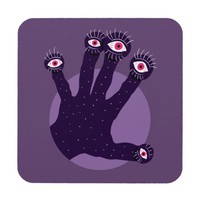 Creepy Hand Has Weird Fingers With Watching Eyes Beverage Coaster