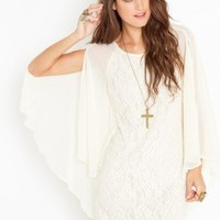Laced Cape Dress - Ivory - NASTY GAL