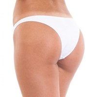 Coqueta Sweet Heart Brazilian Bikini Bottom Hipster Swimsuit WHITE-medium