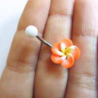 Bright Orange Hawaiian Flower Plumeria Belly Button Ring Hawaii Navel Stud Jewelry Bar Barbell Piercing Tropical Hibiscus