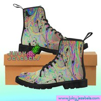 MARBLE MADNESS Combat Boots Rave Clothing Music Festival Clothing Rave Outfit Women Burning Man Clothing Rave Wear Psychedelic Clothing