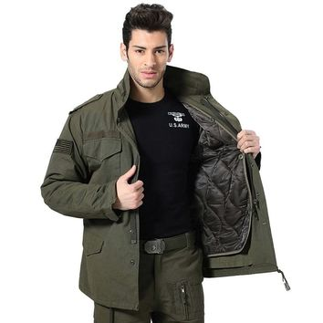 Trendy Men M65 Military Jacket Air Force One Winter Thicken Liner Detachable Tactical Combat   Trench Coat  Hoodie Pilot Jacket AT_94_13
