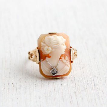Antique 10K Gold & Diamond Cameo Ring - Edwardian Art Nouveau Habillé Carved Shell Size 6 1/2 Fine Jewelry / Diamond Necklace Accent