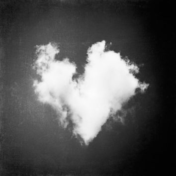 Black and White Photography  heart love cloud by CarolynCochrane