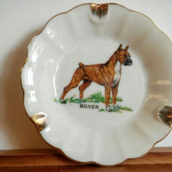 Vintage Boxer Dog Japan Ashtray