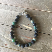 Depression Essential Oils Diffuser Bracelet- Blue Lace Agate- Indian Agate- Black Lava Stone