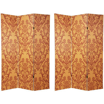 Oriental Furniture CAN-PAT2 Six Ft. Tall Double Sided Damask Room Divider, Width - 48 Inches
