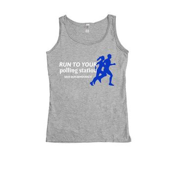 Run To Your Polling Station, Save Our Democracy -- Women's Tanktop