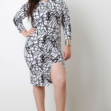 Squiggle Line Mock Neck Midi Dress