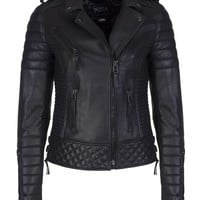 Kay Michaels Oil Black Quilted Biker Jacket Gun Metal Hardware - Boda Skins
