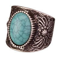 Filigree Turquoise Gem Stretch Ring