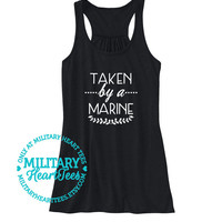 Taken by a Marine Racerback Tank Top, Custom Military Shirt for Wife, Fiance, Girlfriend, Mom, Sister, Workout, Marine clothing