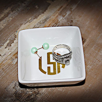 Monogrammed Jewelry Dish- Ring Bowl - Jewelry Bowl - Monogram Dish