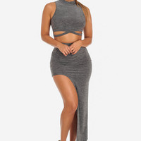 HEATHERED CUT OUT CROP TOP & HIGH WAISTED HILO SKIRT (SET)