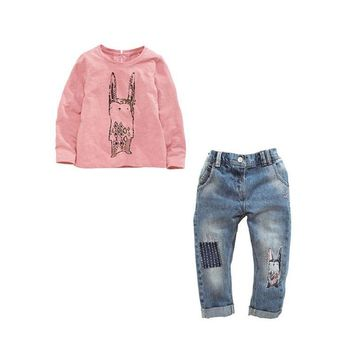 Girls Bunny Sweater Shirt with Jeans 2 Piece Set