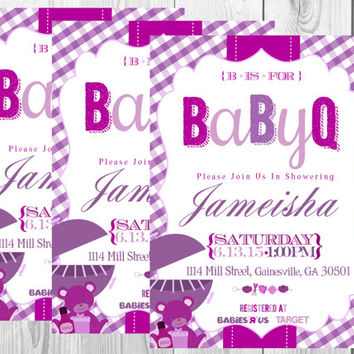BBQ Baby Shower Invitation/BabyQ Baby Shower Invitation/BBQ Shower/Purple/Printables/Digital