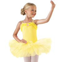 Girl's Ruffle Neckline Tutu Dance Dress; Little St