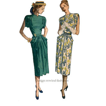 1940s WOMENS DRESS PATTERN Shoulder Tucks Sleeve Pocket Drape Cocktail Evening Dress Bust 34 Simplicity 2087 Women's Vintage Sewing Patterns